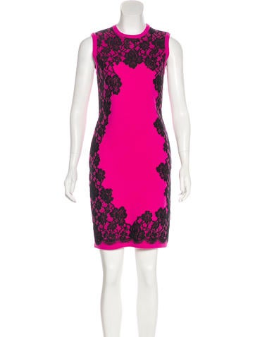 Michael Kors Lace Trimmed Knee-Length Dress None