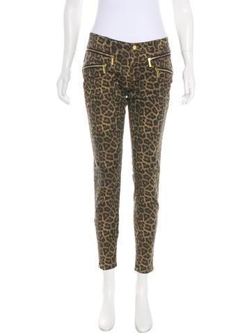 Michael Kors Leopard Print Mid-Rise Jeans None