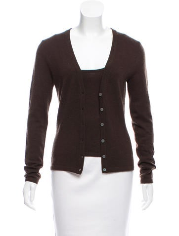 Michael Kors Button-Up Cashmere Cardigan Set None