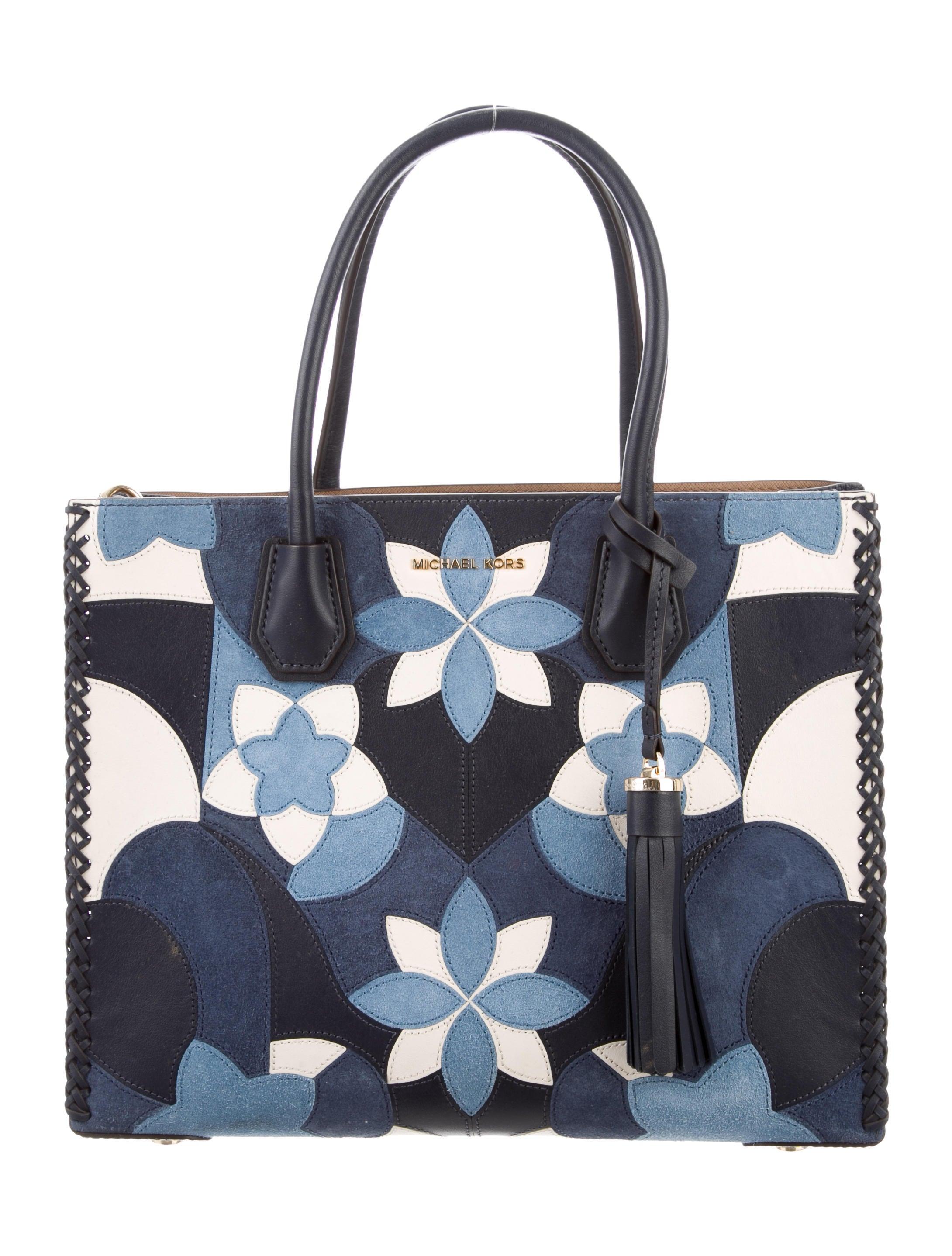 61d763a0a0 Michael Kors Mercer Large Floral Patchwork Tote - Handbags ...