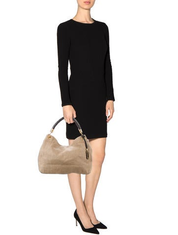 Leather-Trimmed Straw Hobo