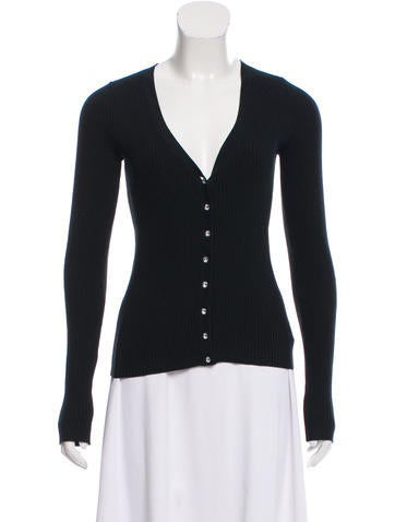 Michael Kors Rib Knit V-Neck Cardigan None