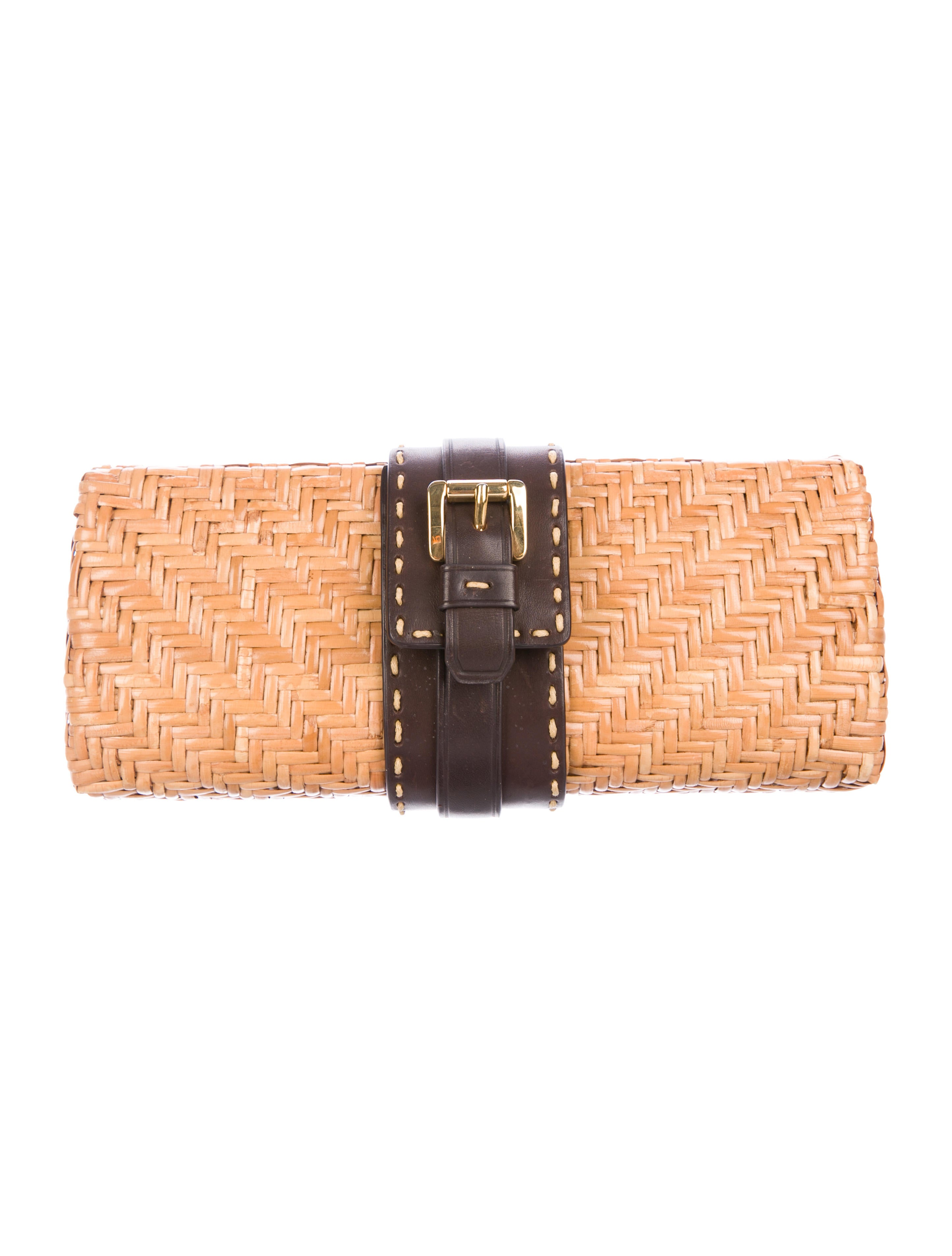 3ee71f0505 Michael Kors Leather-Trimmed Woven Straw Clutch - Handbags ...