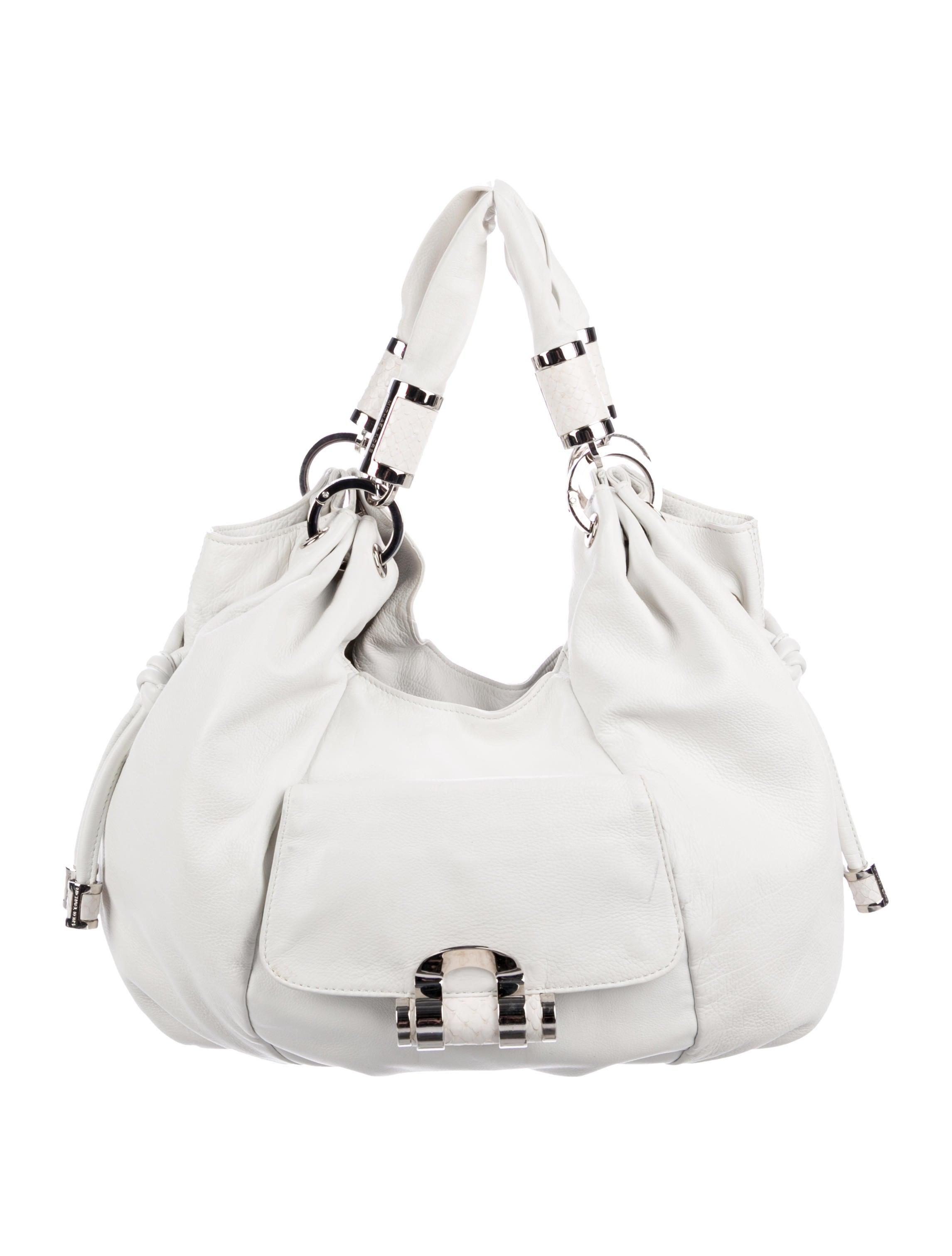 ec8df9d2e2b9 Michael Kors Snakeskin-Trimmed Leather Hobo - Handbags - MIC82460 ...