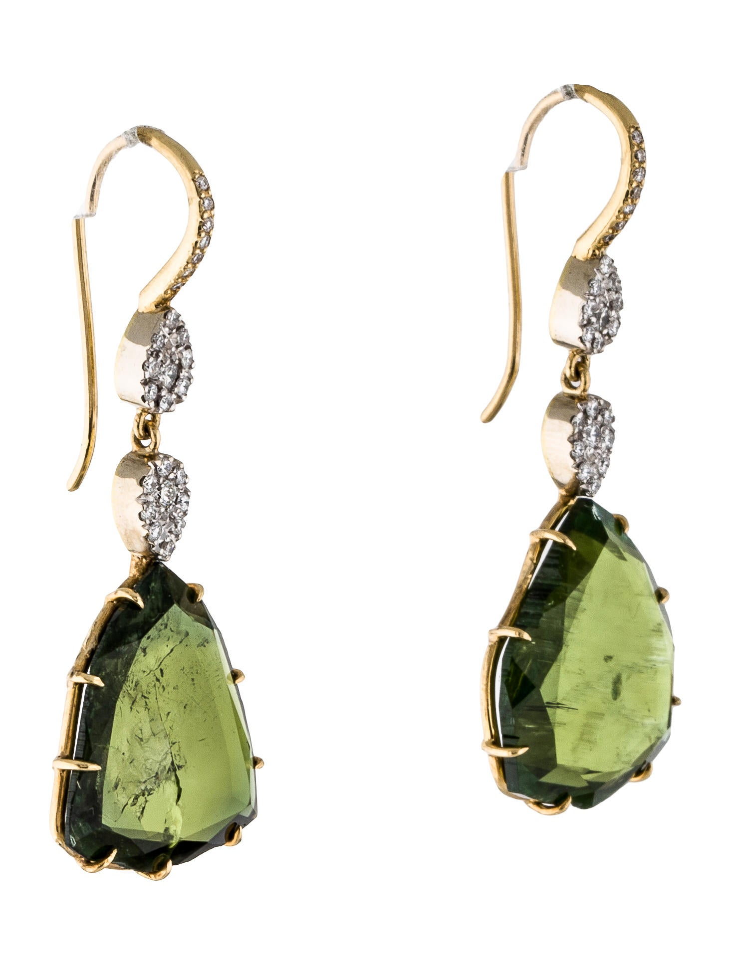 Michael b 18k green tourmaline diamond drop earrings for Michael b jewelry death