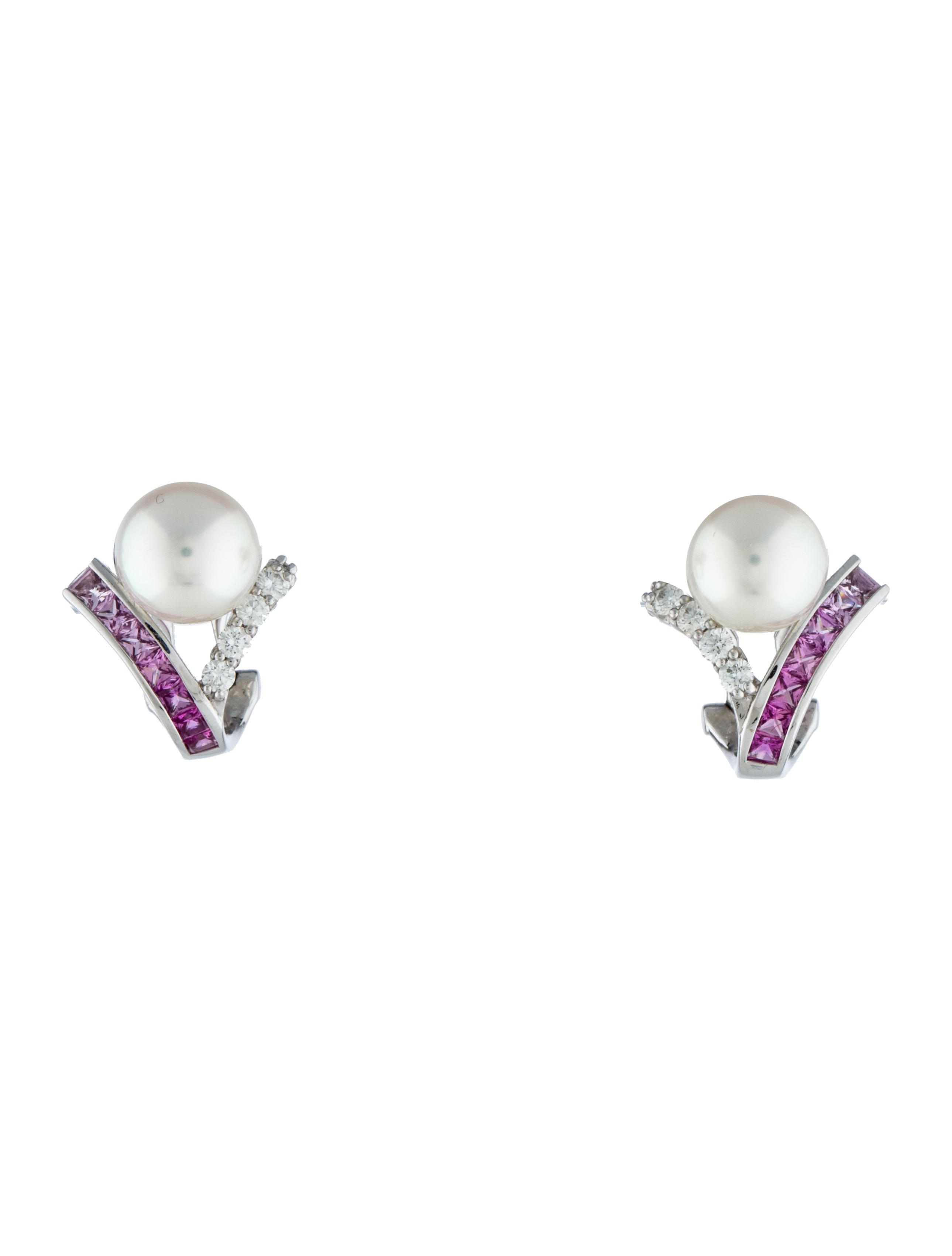 18k Pearl Pink Shire Diamond Ear Clip Earrings