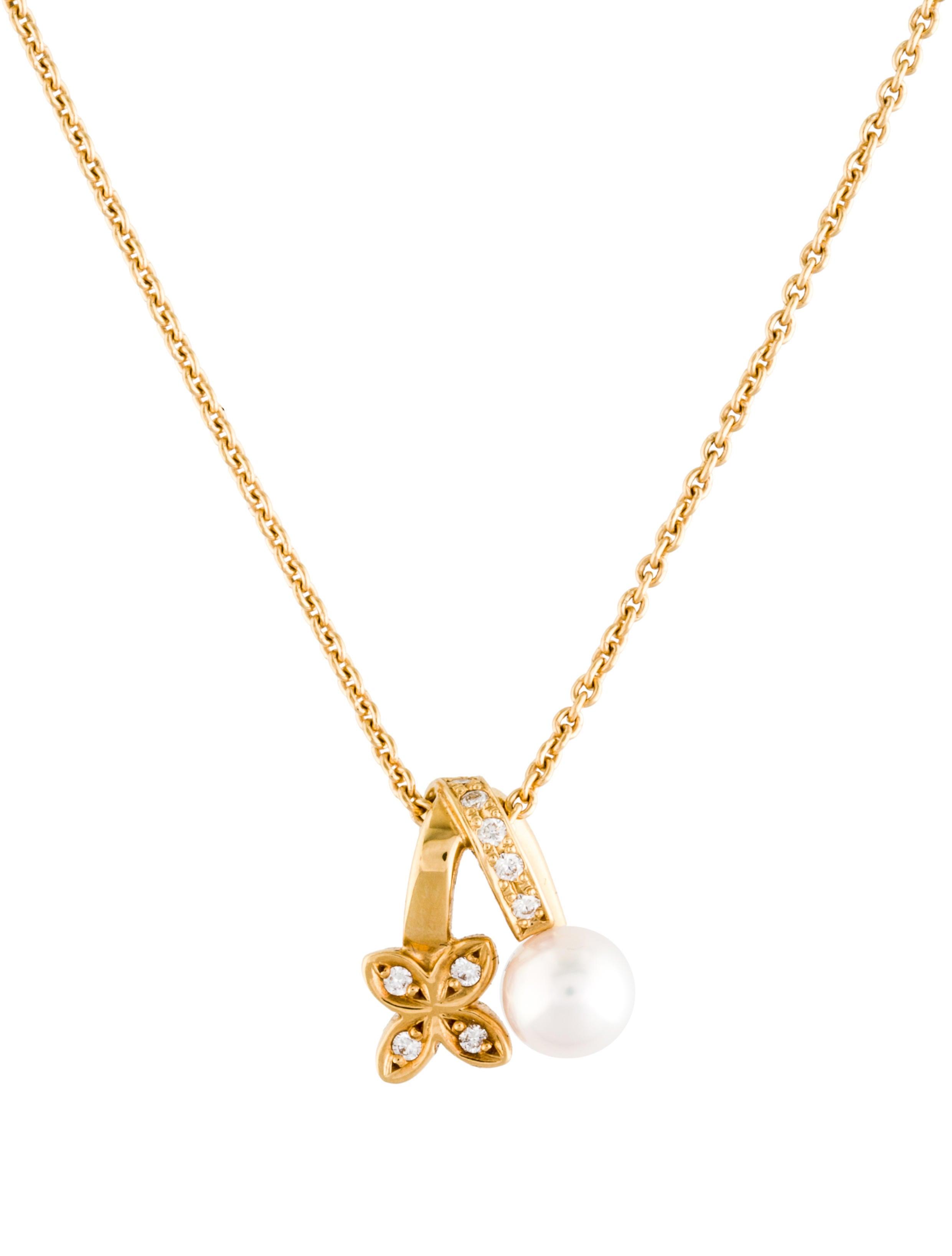 mikimoto 18k akoya cultured pearl clover pendant necklace. Black Bedroom Furniture Sets. Home Design Ideas