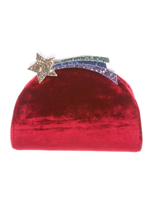 Ming Ray Velvet Rainbow Clutch w/ Tags Red