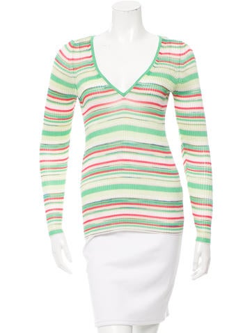 Missoni Striped Rib Knit-Trimmed Top None