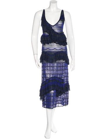 Missoni Ruffle-Accented Metallic Dress None