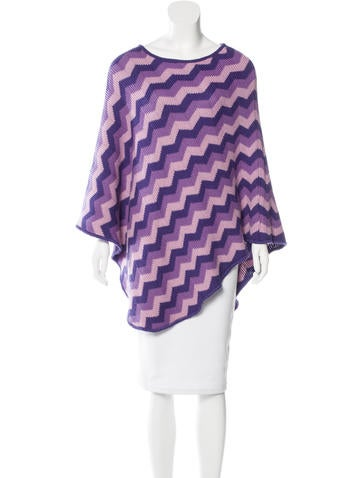 Missoni Zigzag Knit Poncho None