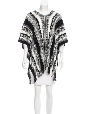 Missoni Wool-Blend Patterned Poncho w/ Tags None