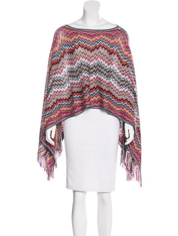 Missoni Wool Chevron Print Poncho None