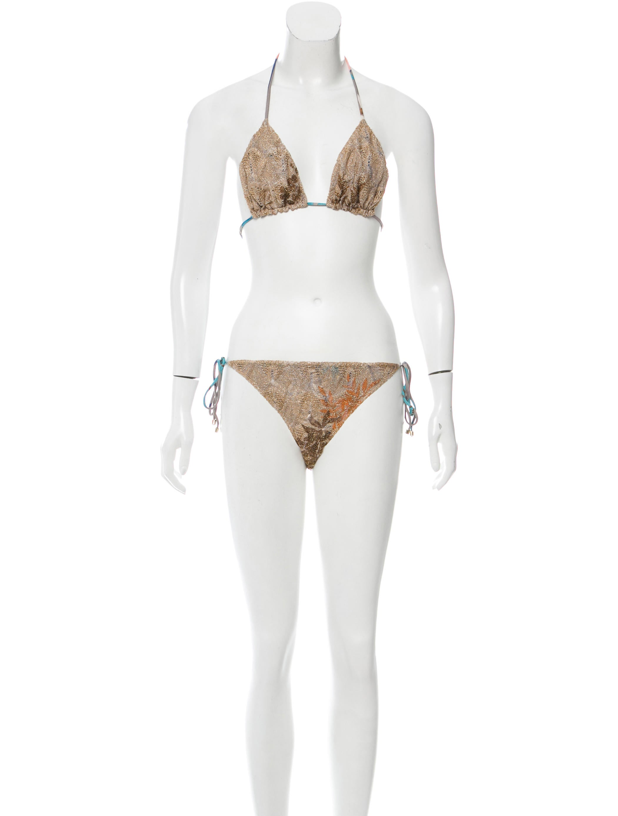 missoni metallic two piece swimsuit w tags clothing mis39762 the realreal. Black Bedroom Furniture Sets. Home Design Ideas