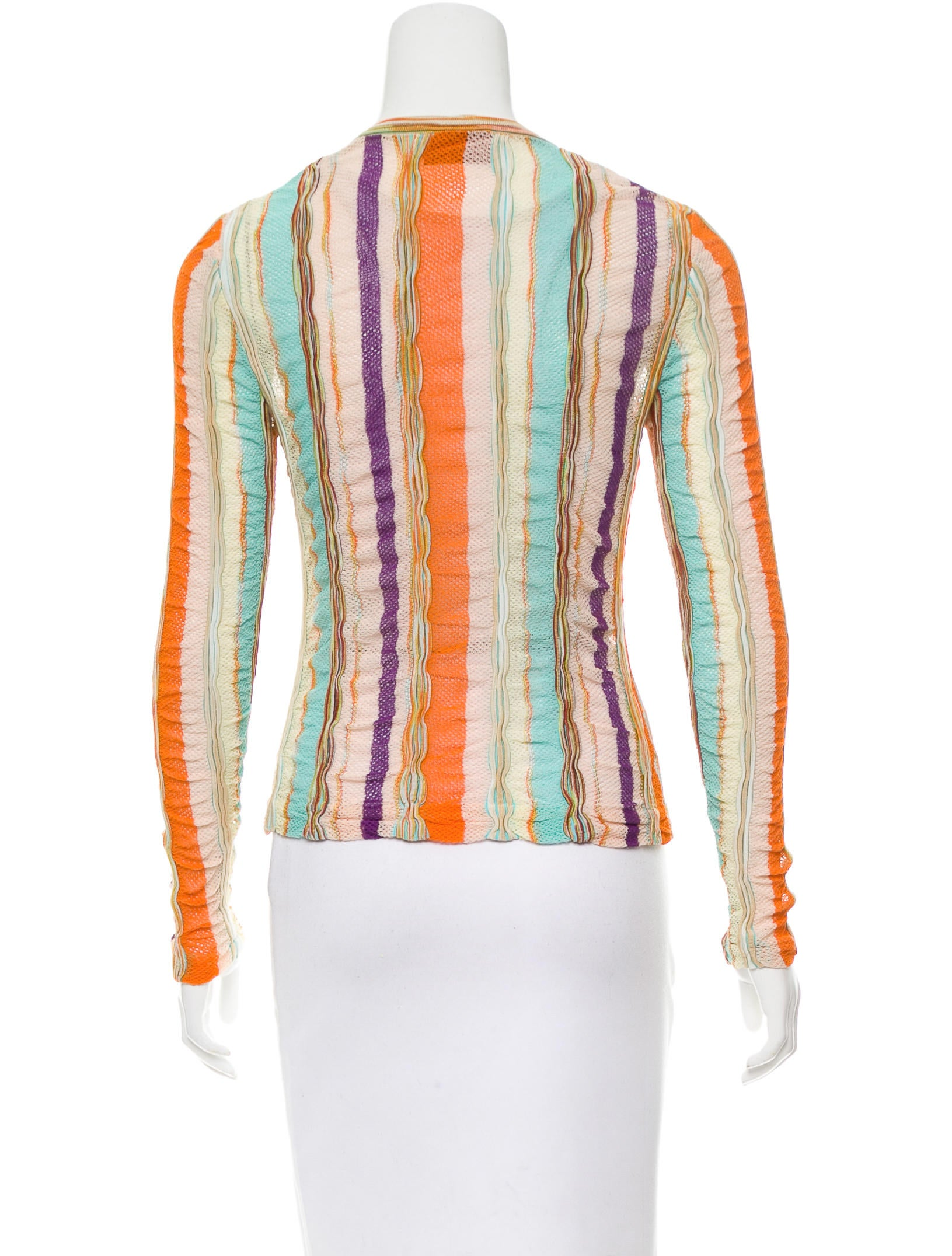 Missoni Open-Knit Striped Cardigan - Clothing - MIS40155 ...