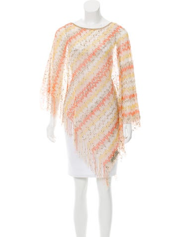 Missoni Fringe-Trimmed Chevron Poncho None