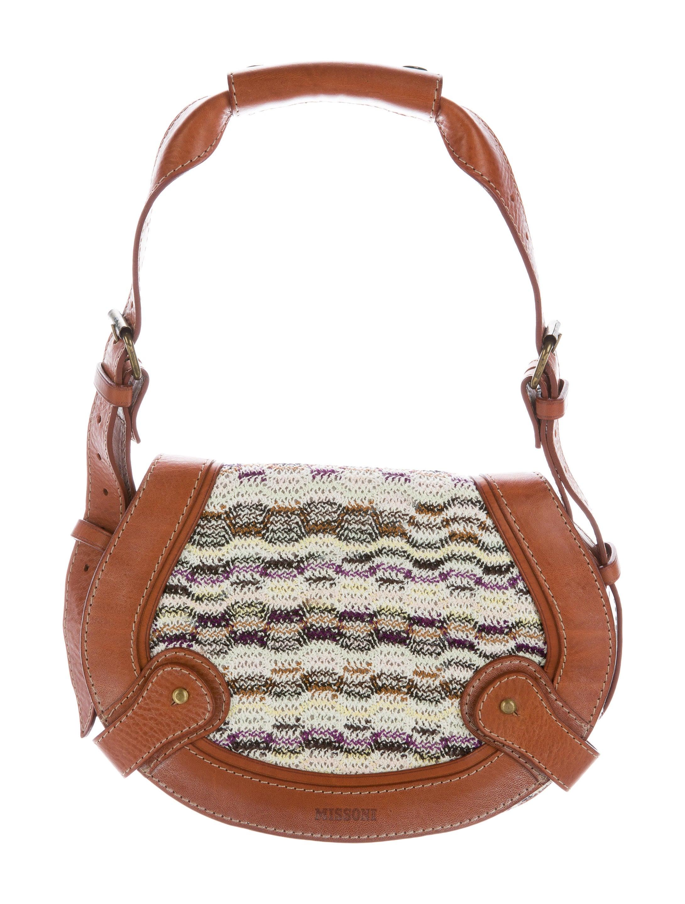 Missoni Leather-Trimmed Knit Bag - Handbags