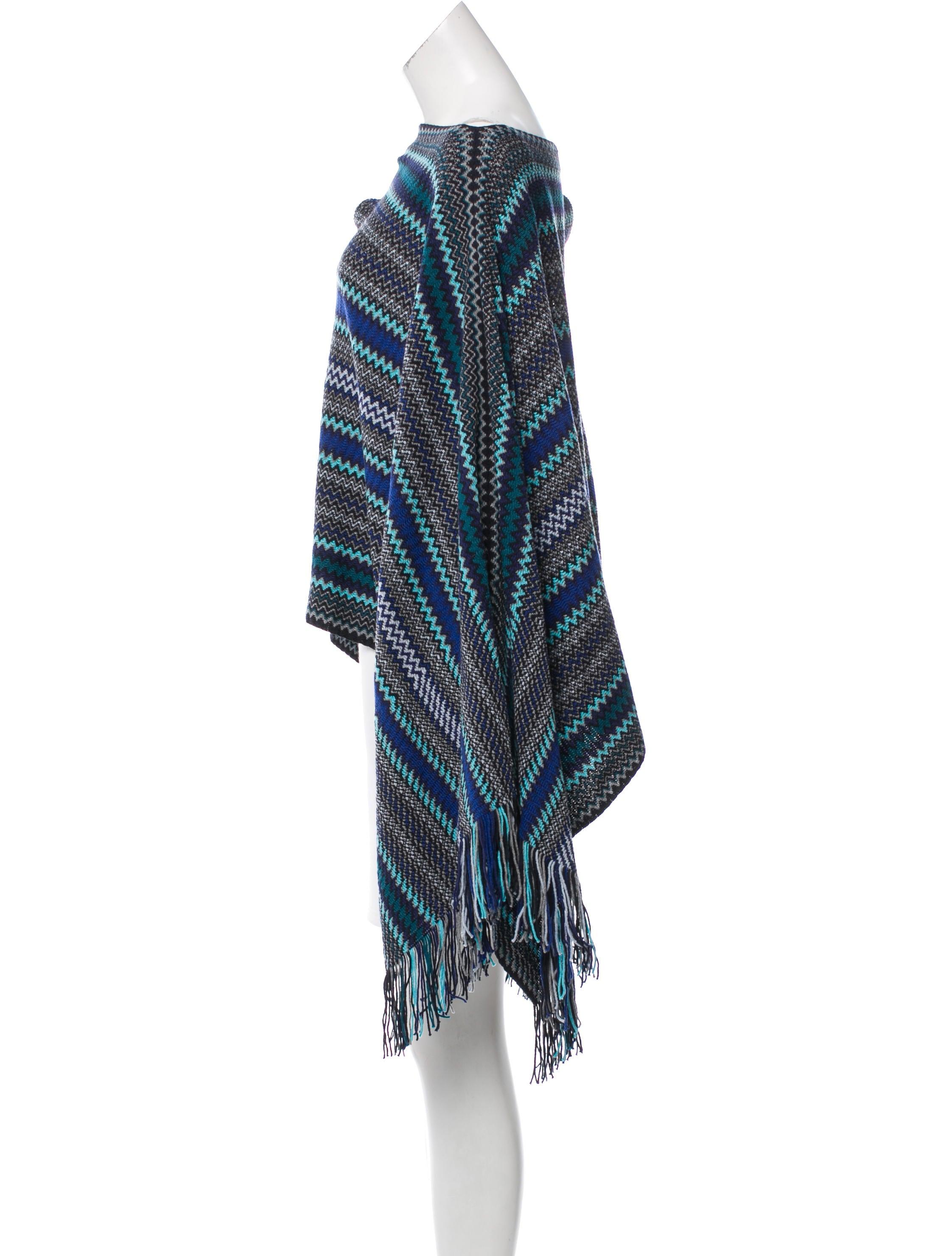 Knit Sweater With Zig Zag Pattern : Missoni zig zag pattern knit poncho clothing mis