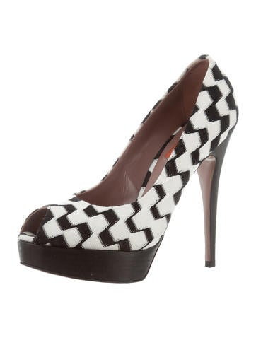 Missoni Checkered Peep-Toe Platforms outlet discount sale cheap sale how much comfortable for sale hGC3yUXn
