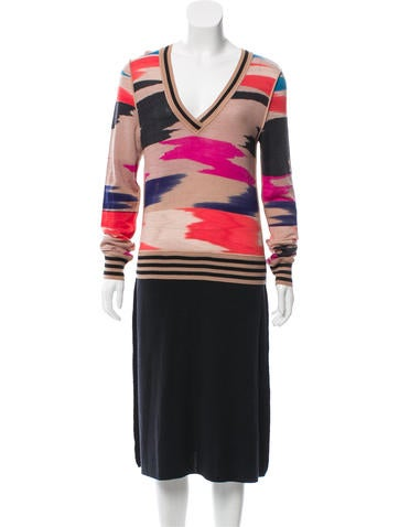 Missoni V-Neck Sweater Dress None
