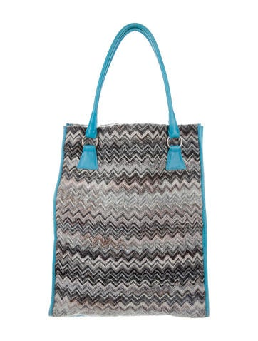 Missoni Patterned Knit Leather-Trimmed Tote None