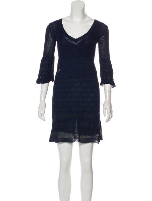 Missoni Textured Long Sleeve Knit Dress Navy