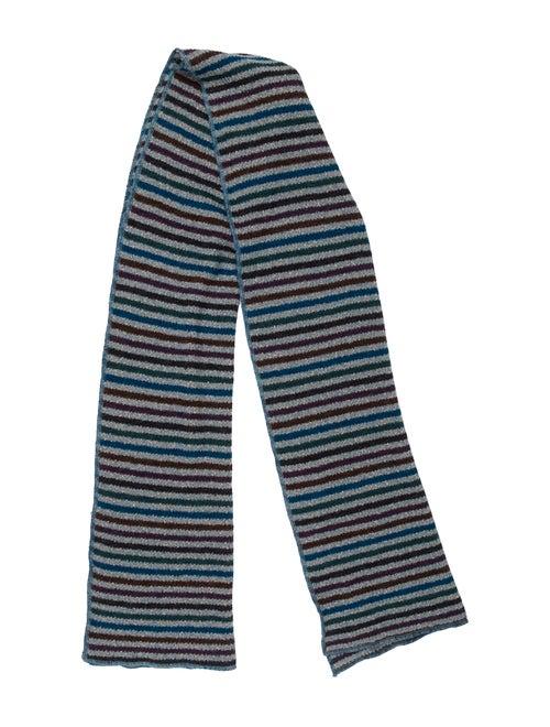 Missoni Striped Knit Scarf Green