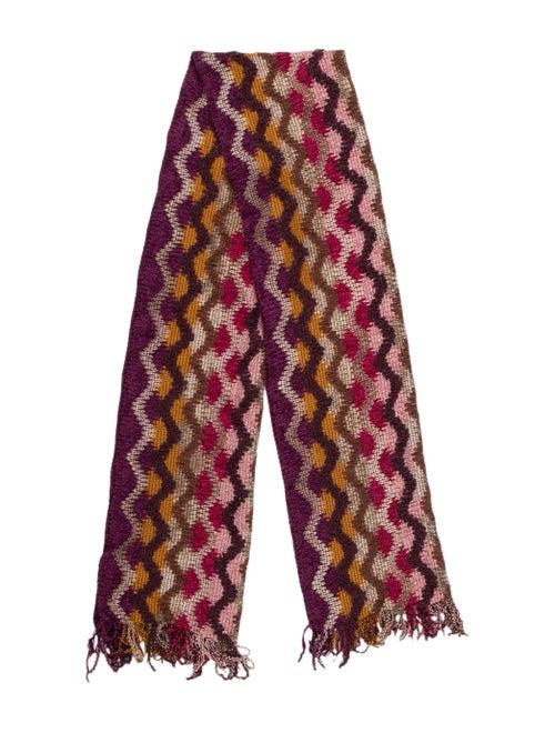 Missoni Patterned Knit Scarf Purple