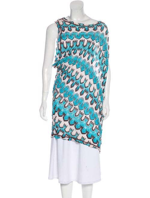 Missoni Sleeveless Lightweight Knit Top Blue