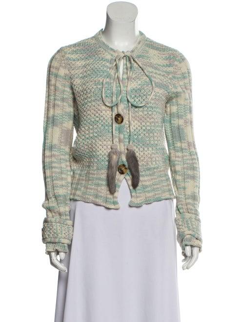 Missoni Cashmere Rib Knit Cardigan Turquoise