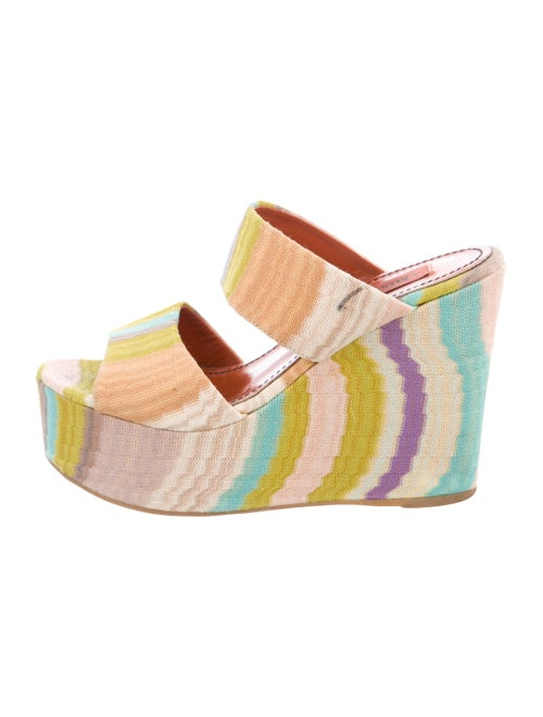 Missoni Knit Wedge Sandals Chartreuse