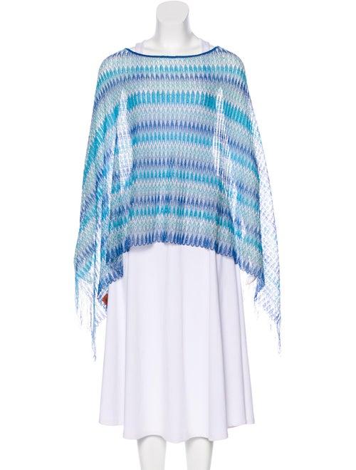 Missoni Fringe Knit Poncho blue