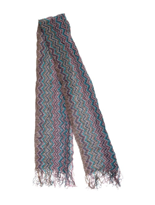 Missoni Chevron Knit Scarf blue