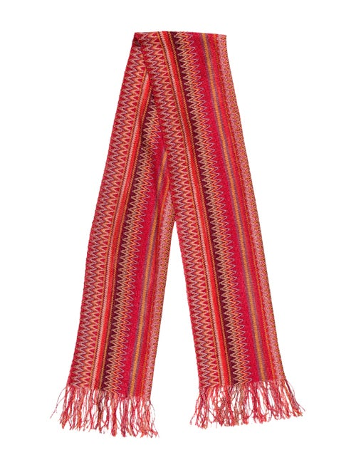Missoni Striped Fringe Scarf Coral