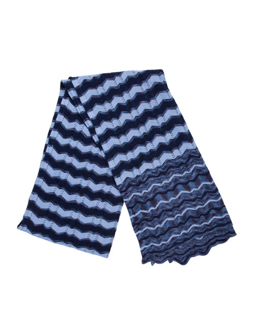 Missoni Wool Chevron Scarf Navy
