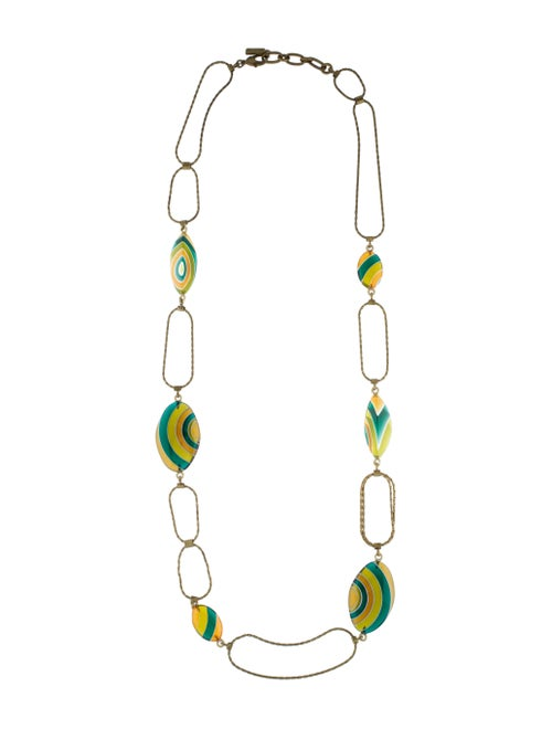 Missoni Long Chain-Link Resin Necklace gold