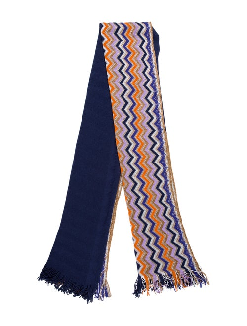 Missoni Chevron Knit Shawl Navy