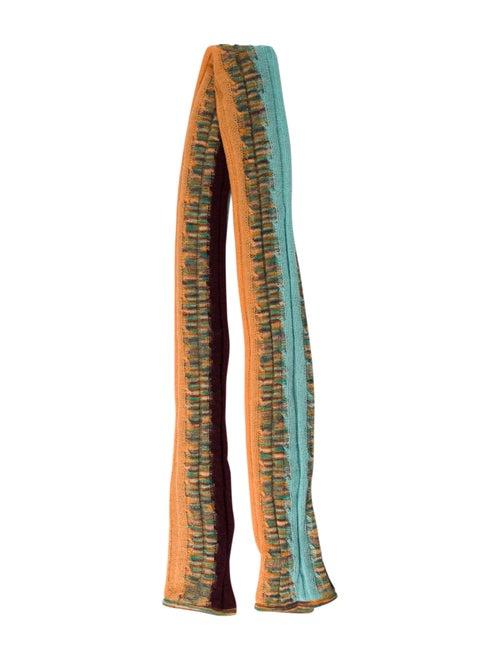 Missoni Striped Knit Scarf Olive