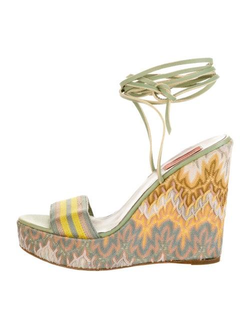Missoni Knit Wedge Sandals Green