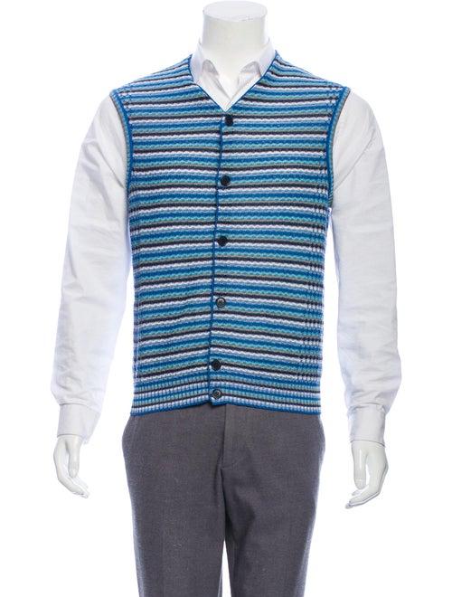 Missoni Knit Button-Up Vest blue