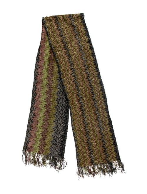 Missoni Geometric Knit Scarf Green