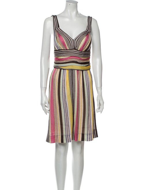 Missoni Striped Knee-Length Dress Brown