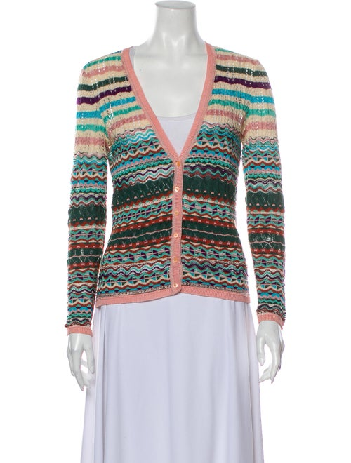 Missoni Striped V-Neck Sweater Green