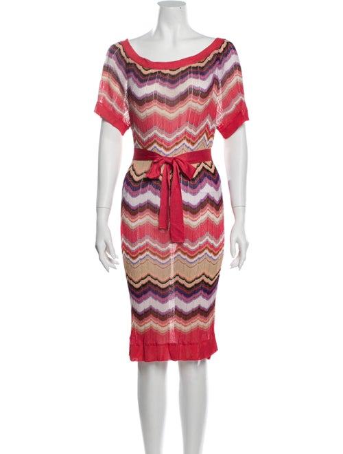 Missoni Striped Knee-Length Dress Pink