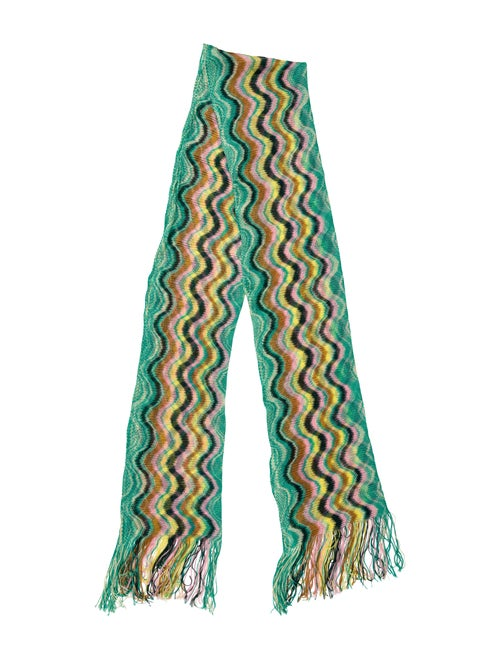 Missoni Patterned Knit Scarf green