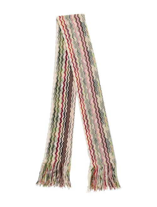 Missoni Patterned Knit Scarf White