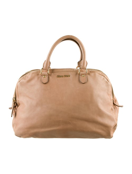 Miu Miu Leather Satchel Tan