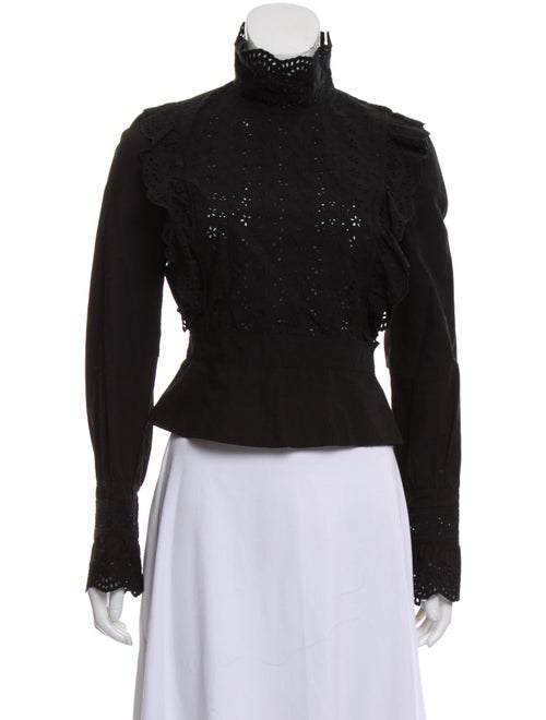 Miu Miu Turtleneck Long Sleeve Blouse Black