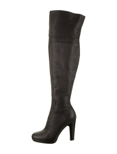 Miu Miu Leather Over-The-Knee Boots Black