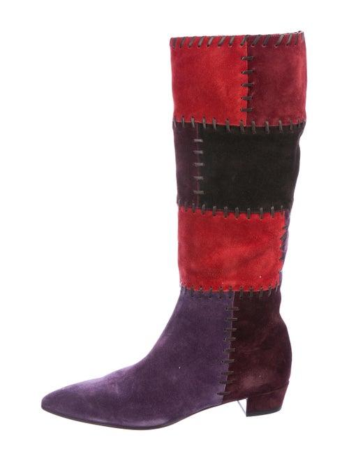 Miu Miu Suede Knee-High Boots Red